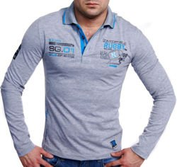 ORYGINALNY LONGSLEEVE POLO J,SZARY BB112 RUGBY