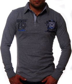 LONGSLEEVE POLO UNIVERSITY 75 SZARY G5662